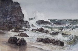 "'Wild Weather at the Headland, Sunshine Beach"" Watercolour 35 x 52 cm $450.00 unframed"