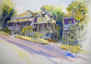 """Petrie Terrace"" Pen, Ink and Watercolour on 260 gsm Bristol Board 229 x 305 mm"